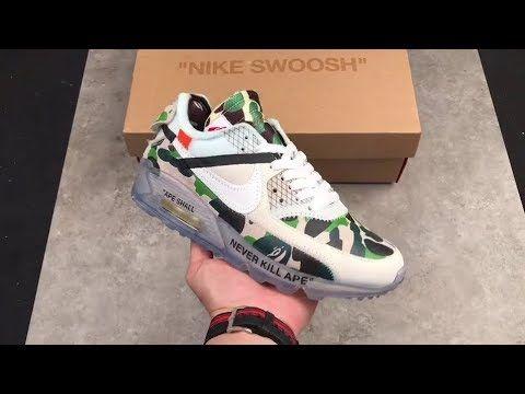 34a2143b505eb Custom Off-White x Nike Air Max 90 Bape Green Camo   www.kicksvogue ...