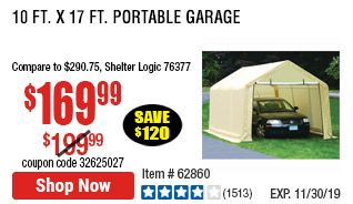 10 ft. x 17 ft. Portable Garage | Portable garage, Garage ...