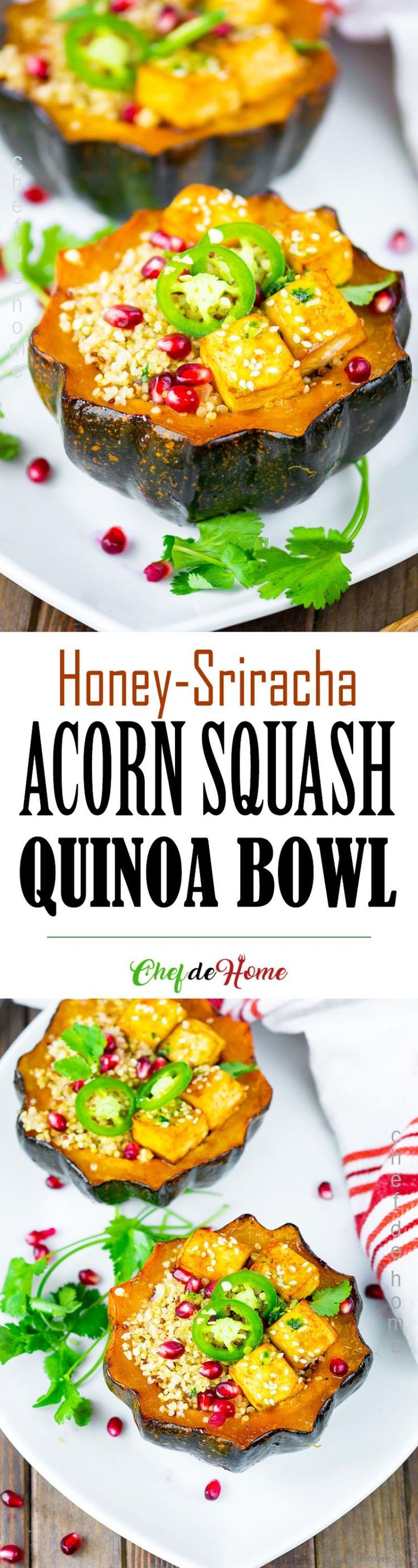 Sweet and Spicy, Honey and Sriracha Roasted Acorn Squash stuffed with garlicky quinoa, baked tofu and cilantro oil. This recipe can be a vegetarian's Thanksgiving feast or fall inspired meatless Monday Quinoa Bowl packed with nutrients and TON of flavor. Gluten free.