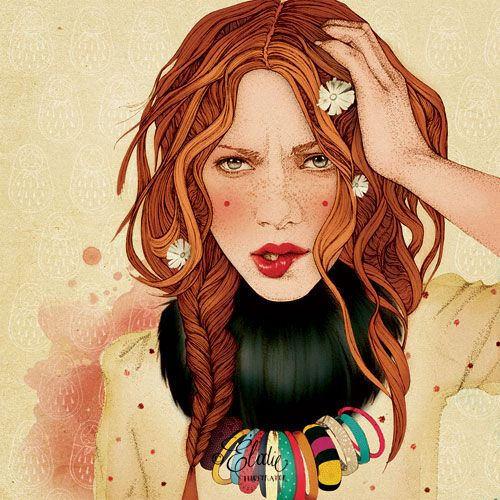 by ËLODIESummer Hair, French Illustration, Art, Fashionillustration, Fashion Illustration, Elodie Nadreau, Redheads, Drawing, Red Head