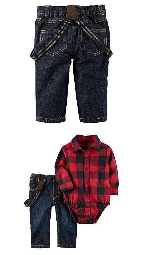 Carters Baby Boys' 2 Piece Plaid Bodysuit and Overalls Set Red 3 Months