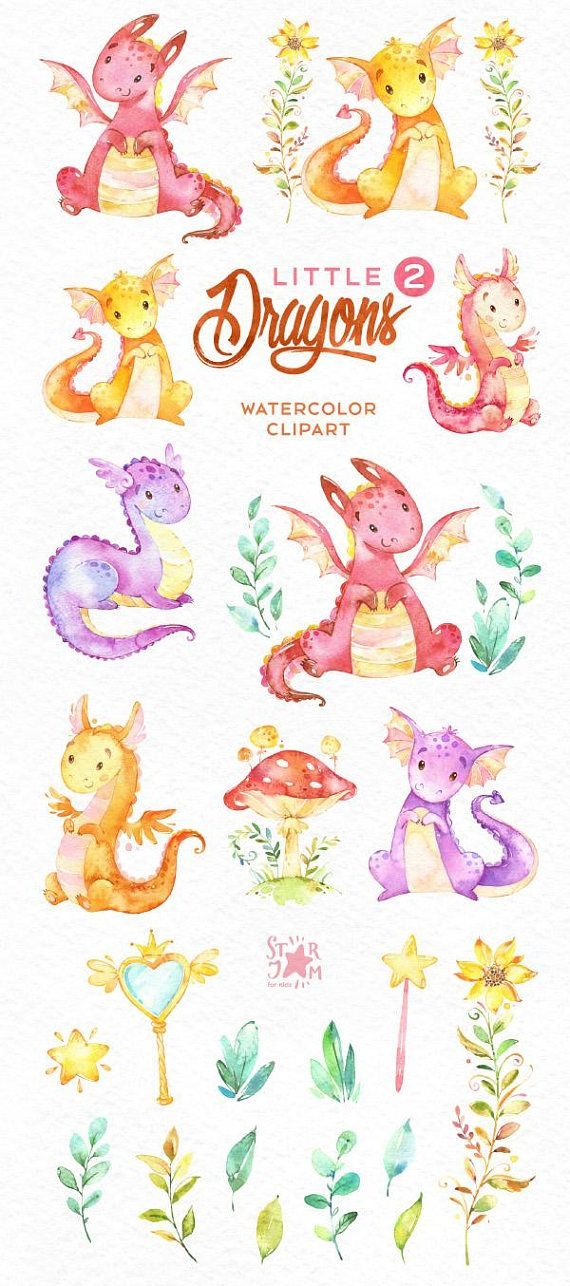 This 2 part of magical set with Little Dragons is just what you needed for the perfect invitations, craft projects, paper products, party decorations, printable, greetings cards, posters, stationery, planners, scrapbooking, stickers, t-shirts, baby clothes, web designs and much more. :::::: DETAILS :::::: This collection includes: - 22 Images in separate PNG files, transparent background, different size: 12-3in (3600-900px) 300 dpi, RGB 1 part of Little Dragons https://www.etsy....