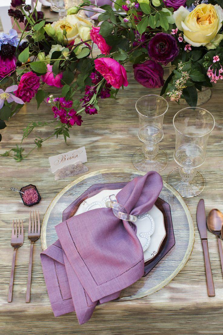 Marbled linen topped with lilac plates and hemstitch napkins with dark copper flatware. | as featured in @charlestonweddings | photo: @gaylebrooker | @plantersinnweddings | #southernwedding #bridesmaidsluncheon #luncheon #destinationwedding