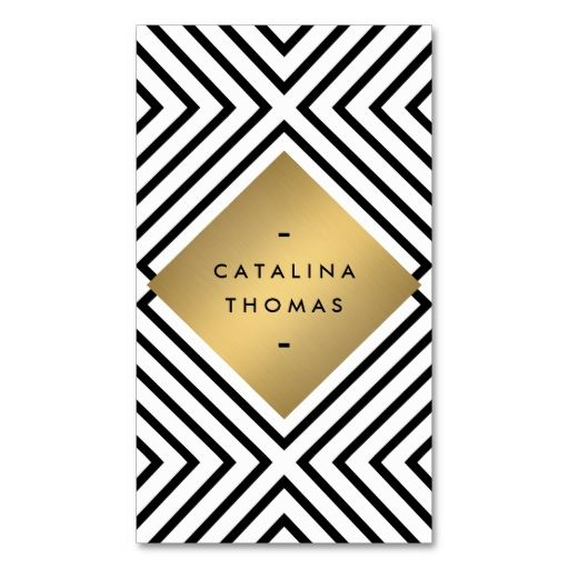 Retro Mod Bold Black and White Pattern Gold Emblem Business Card Template. This is a fully customizable business card and available on several paper types for your needs. You can upload your own image or use the image as is. Just click this template to get started!