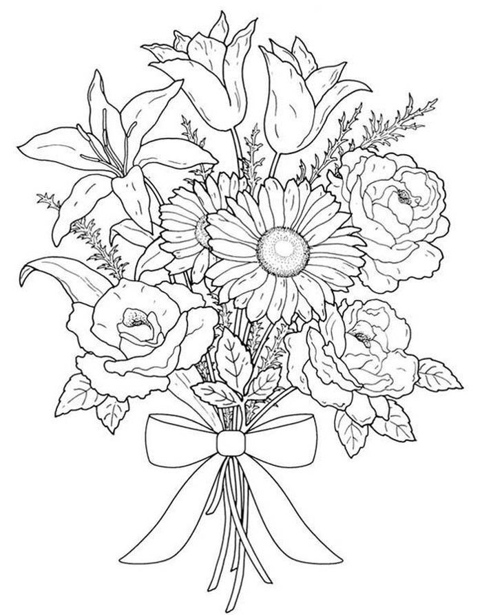 Bouquet Of Flowers Coloring Pages Jpg 883 1132 Flower Coloring Sheets Printable Flower Coloring Pages Abstract Coloring Pages