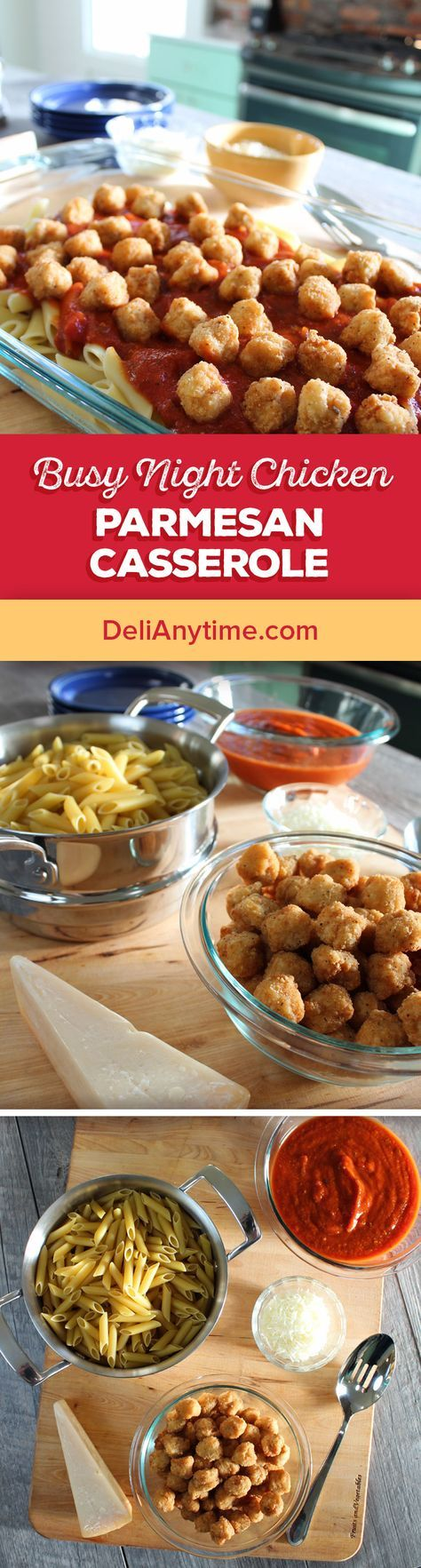 """1. Preheat oven to 350 degrees. Boil and drain pasta. 2. Reheat popcorn chicken. 3. In a 9""""X13"""" pan, stir together cooked pasta, popcorn chicken, spaghetti sauce, and shredded mozzarella. 4. Sprinkle top with parmesan cheese. 5. Cover with foil and bake until cheese is bubbly, usually about 30 minutes."""