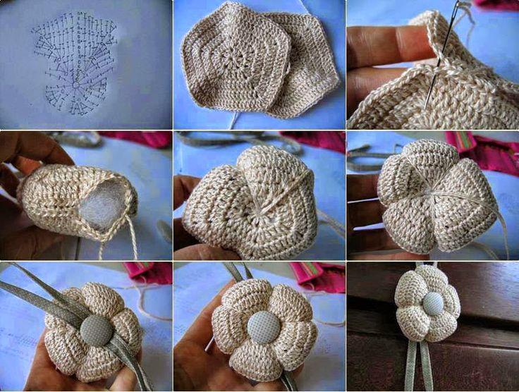 Crochet y dos agujas: Flores tejidas al crochet con base pentagonal rellenas con guata - paso a paso