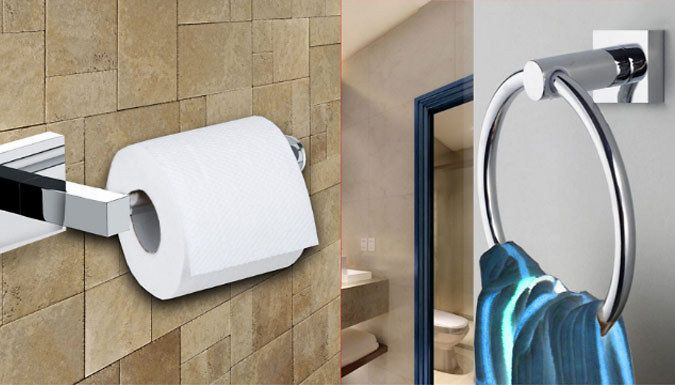 Buy Bathroom Toilet Roll Holder and Towel Ring Set UK deal for just: £8.99 Spruce up your bathroom with this Toilet Roll Holder and Towel Ring Set      Includes 1 x circular ring for hand towels and 1 x holder for a single toilet roll      This stylish chrome set looks great in any bathroom      Wall mounting plates conceal screws for a neat finish      Towel ring measurements: (L) 16.3cm x...