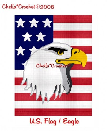 American Flag Bald Eagle Head Afghan Crochet Pattern Graph ...