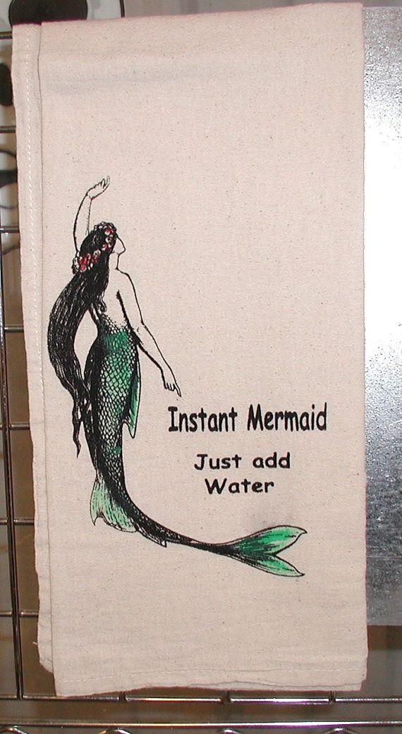 Mermaid flour sack Kitchen towel by sallybythesea on Etsy