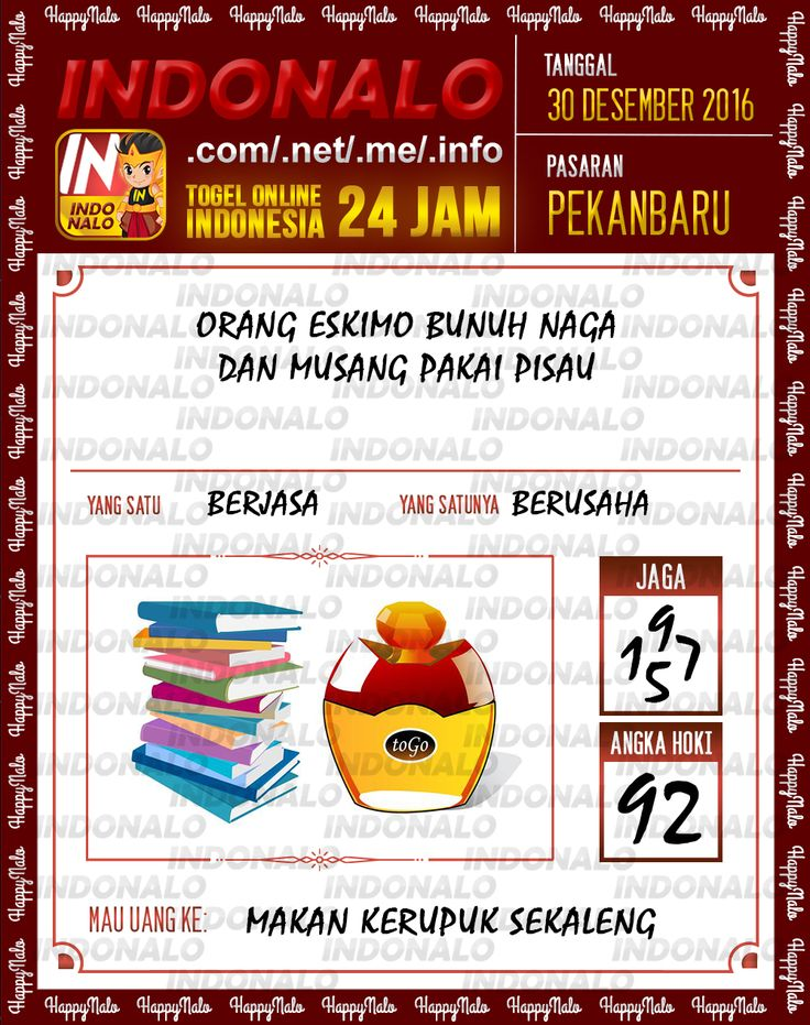 Kode Lotre 3D Togel Wap Online Live Draw 4D Indonalo Pekanbaru 30 Desember 2016