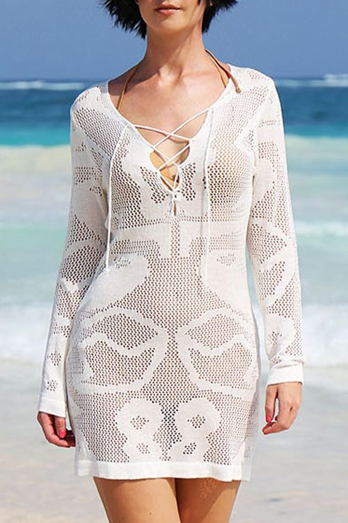 White Hollow Long Sleeve Cover-Up Dress WHITE: Cover Ups | ZAFUL