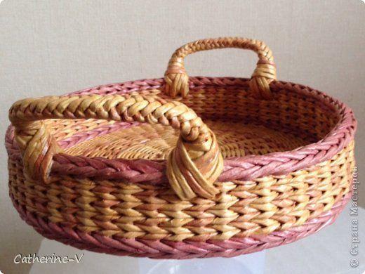 Поделка изделие Плетение Поднос №2 Розовый меланж Бумага газетная фото 3