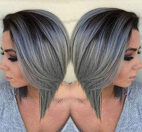 Details about Full Shine Short Bob Wigs Ombre 1B Fading to Silver Human Hair Lace Front Wigs