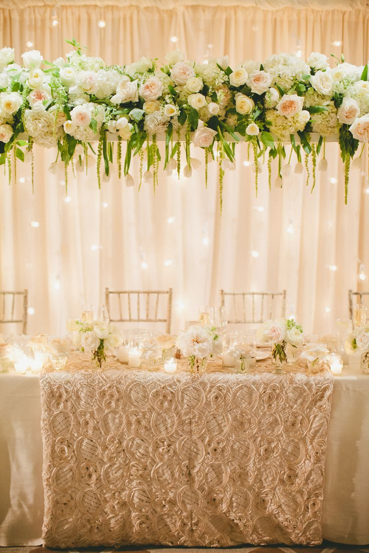 88 best head wedding table images on pinterest wedding for Floral table decorations for weddings