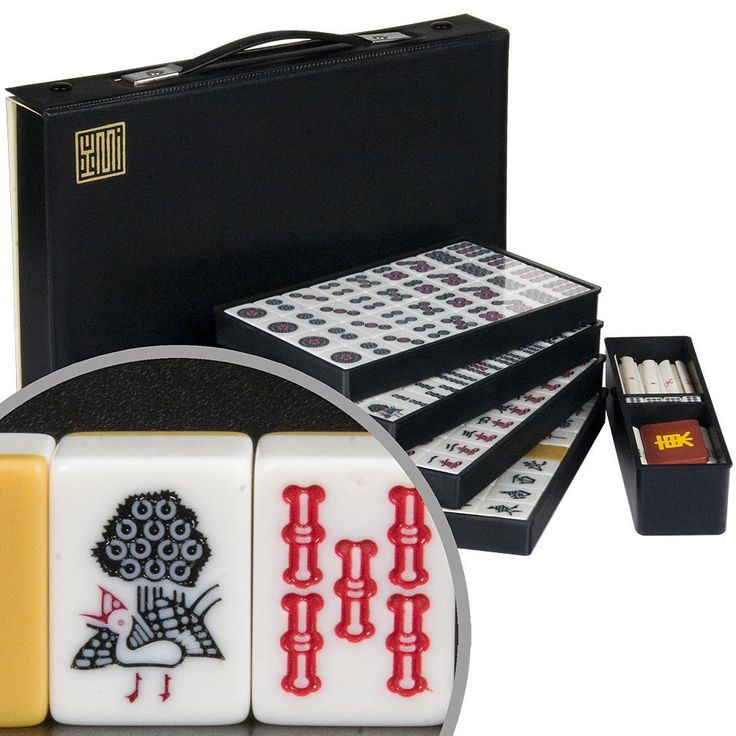 Japanese Riichi Mahjong Set with White Tiles