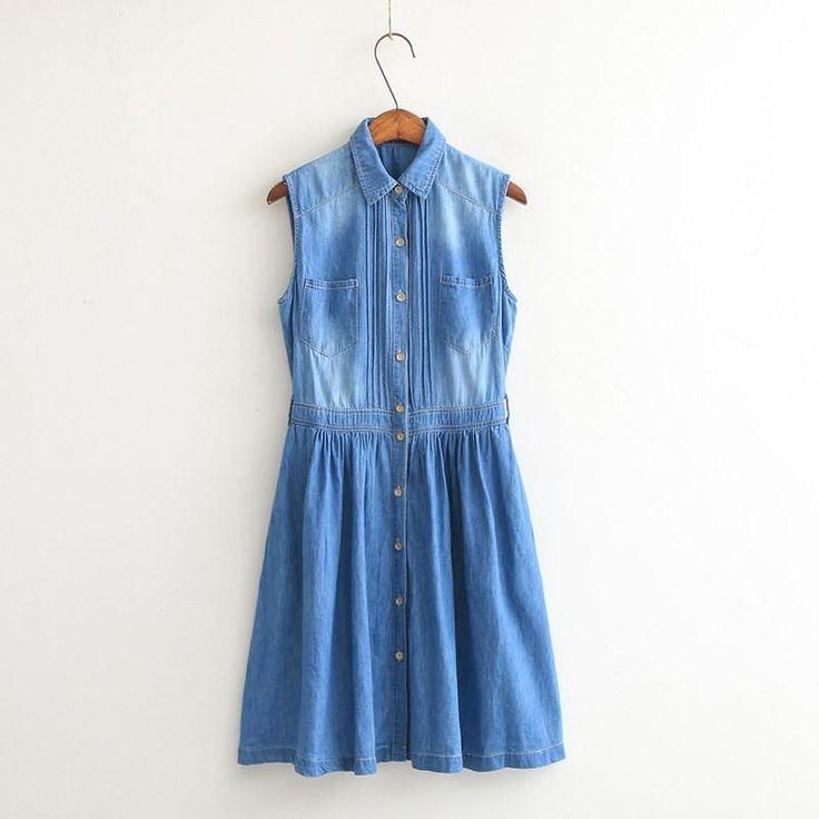 Women Summer Style Fashion Plus Size Sleeveless Denim Material Dress