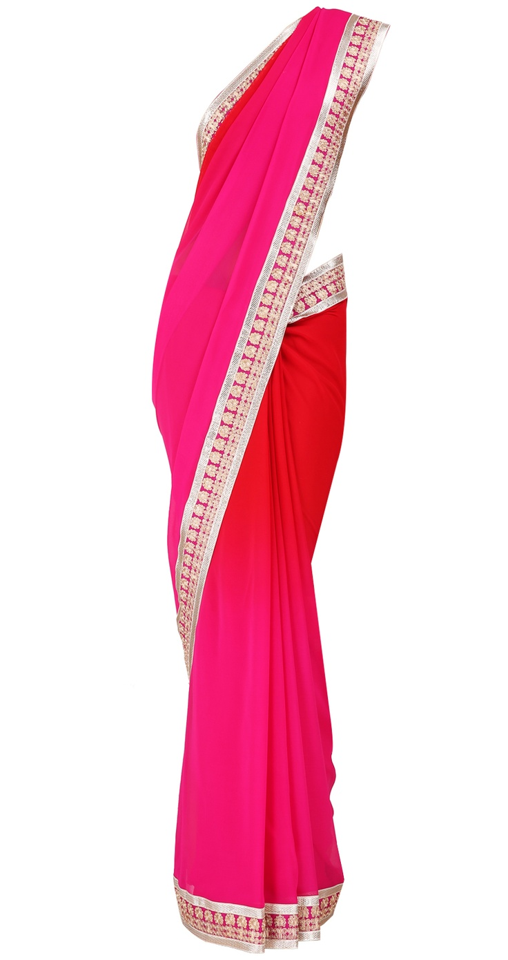 Fuchsia and red shaded georgette sari with gotta border and fuchsia blouse by SUNEET VARMA. Shop at https://www.perniaspopupshop.com/whats-new/suneet-varma-4178