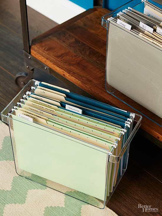 Do set up file boxes to organize papers you use monthly. Store the file boxes on a shallow table or bookcase to keep your desktop clutter free. Use four different colors of hanging file folders to help you easily distinguish between financial, insurance, personal, and household documents.