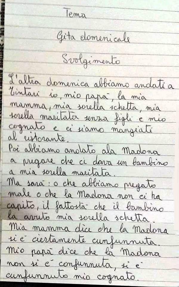 Tema scolastico di un bambino siciliano di 9 anni.