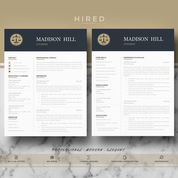 Legal Resume Template for Word: Madison   - 100% Editable. - Instant Digital Download. - US Letter & A4 size format included. - Mac & PC Compatible using Ms Word.  Attorney Resume Template for MS Word. Lawyer Resume. If you like this template but you are not a Lawyer, you can adapt it for your profession. All our templates are easily editable 100%