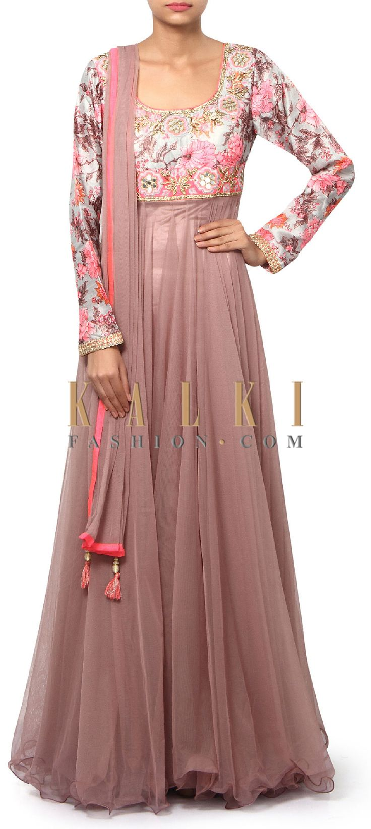 Buy Online from the link below. We ship worldwide (Free Shipping over US$100). Product SKU - 312458.Product Link - http://www.kalkifashion.com/brown-anarkali-suit-adorn-in-floral-printed-yoke-only-on-kalki.html