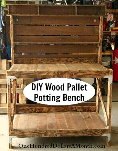 Holy cow do we have some super crafty readers here at One Hundred Dollars a Month or what? This Recycled Wood Pallet Potting Bench is awesome! Chef Selena from Tacoma, Washington had this to say about her creation: Hey Mavis! I built my wood pallet...