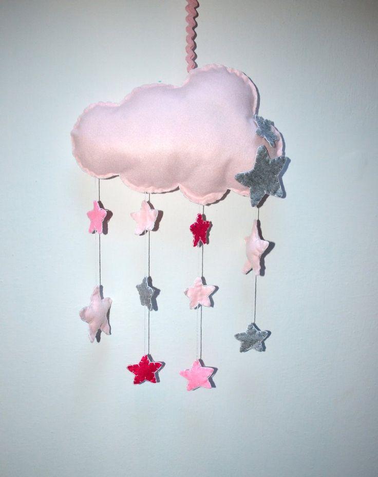 Fiocco nascita a forma di nuvola in pannolenci rosa , by Mywonderland, 15,00 € su misshobby.com