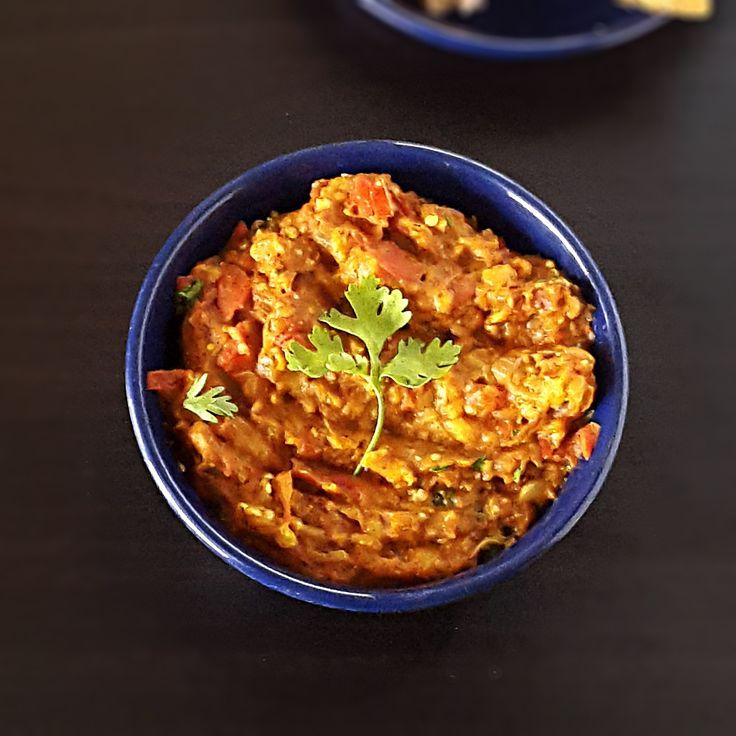 Baingan bharta recipe. Step by step with pictures how to make Baingan bharta recipe - Smoky spiced mashed eggplant, Indian eggplant dish.