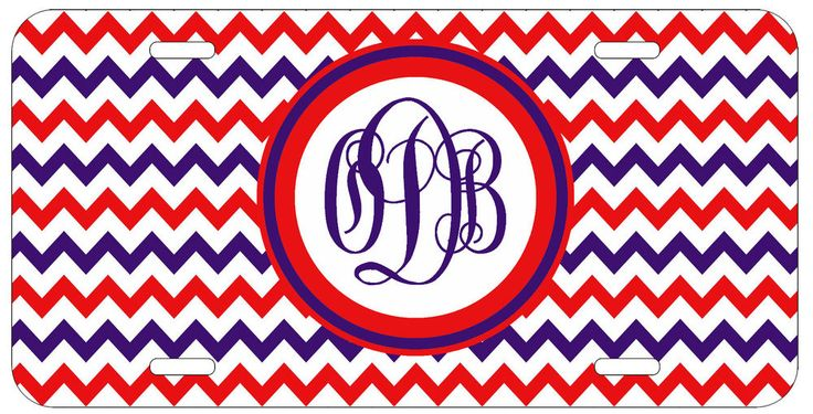 Personalized Monogrammed Chevron Purple Red License Plate Custom Car Tag L031