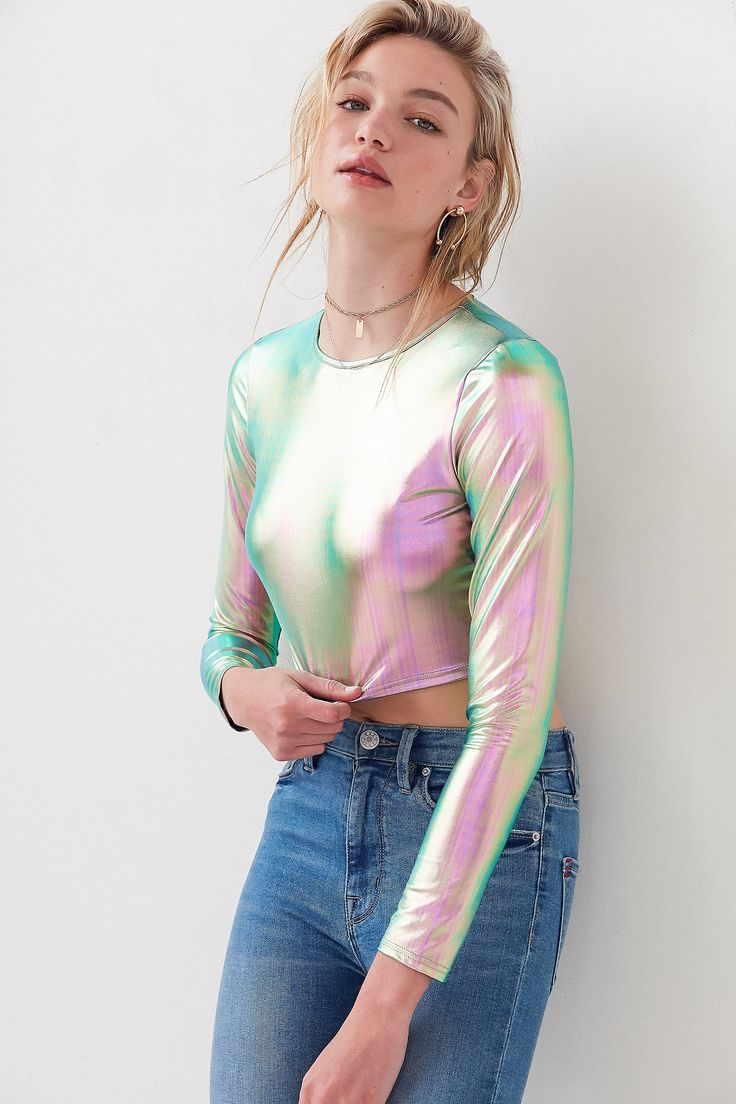 Slide View: 1: Silence + Noise Long Sleeve Holographic Top