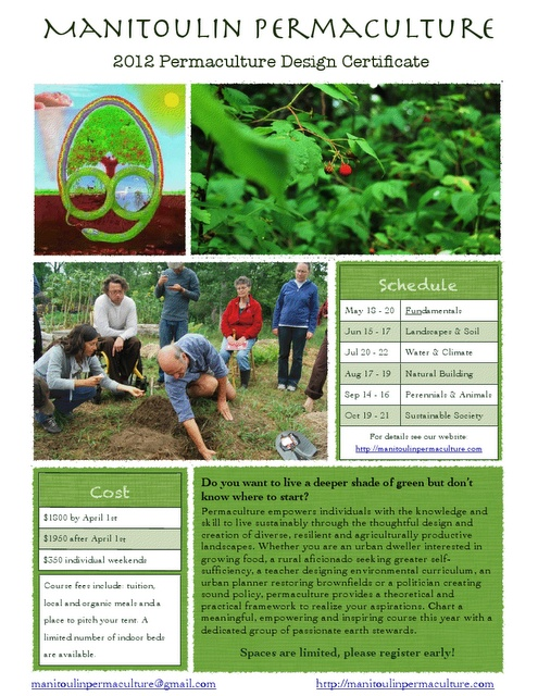 [ Ontario ] 6-Month 120 Hour Permaculture Design Course - May 18th, 2012 / October 21st, 2012