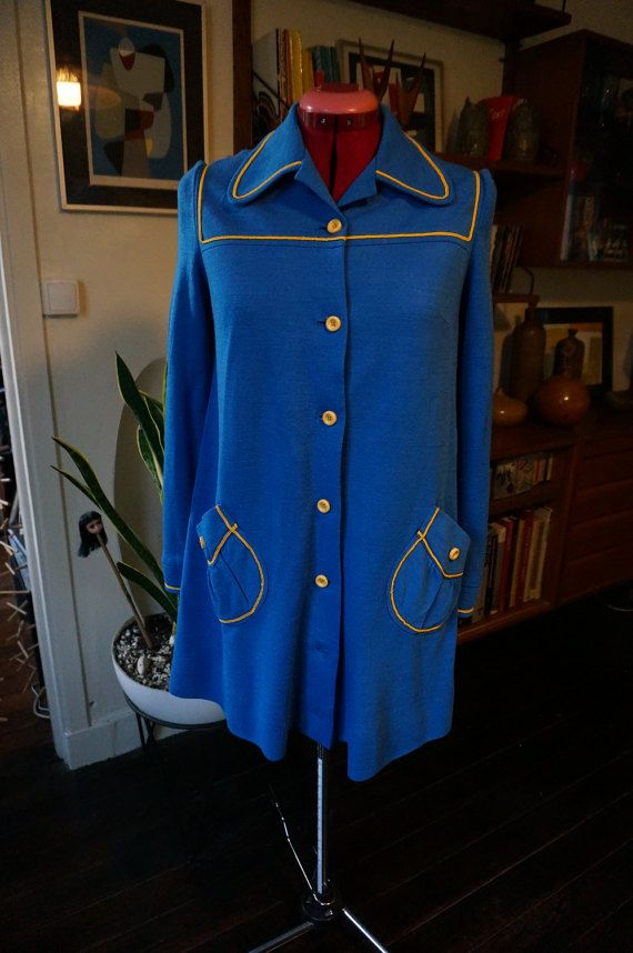 vintage woolen blue dress coat yellow trim penny collar 1960s 1970s twiggy mod 60s 70s