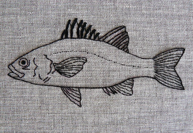australian bass hand-embroidery by edwardandlilly, via Flickr