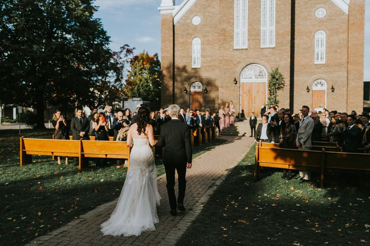 Church stairs wedding ceremony; autumn wedding in Ottawa, Canada; PHOTOGRAPHY Joel + Justyna Bedford;