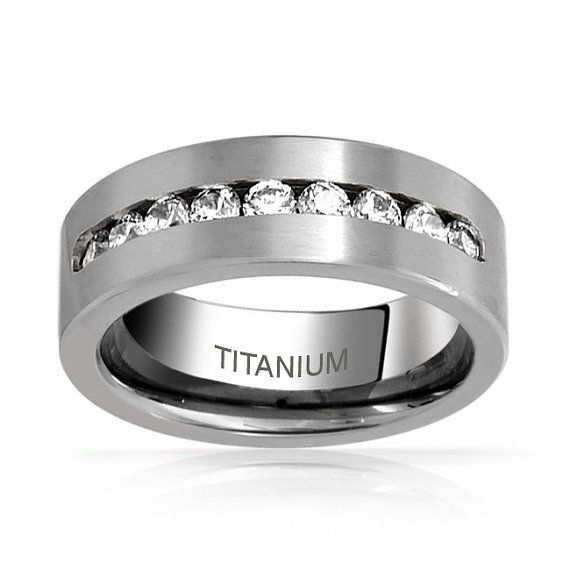 8MM Titanium Wedding Band Mens Wedding Ring by Cloud9Tungsten