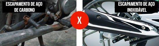 ESCAPAMENTO DE AÇO INOXIDÁVEL A Haojue utiliza em todas as suas motos, escapamento em aço inoxidável