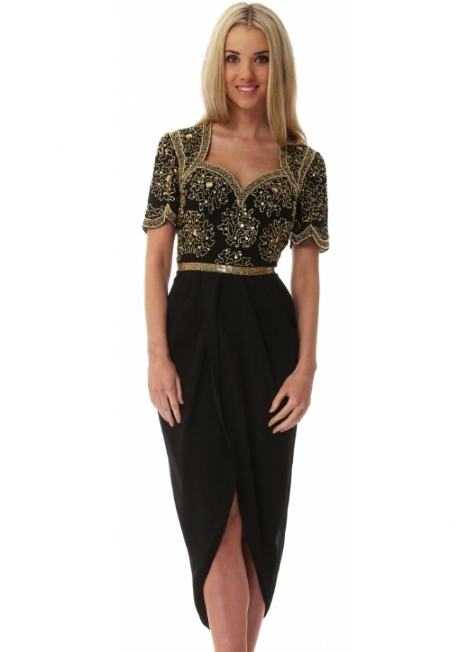 Virgos Lounge Black Aspen Midi Dress