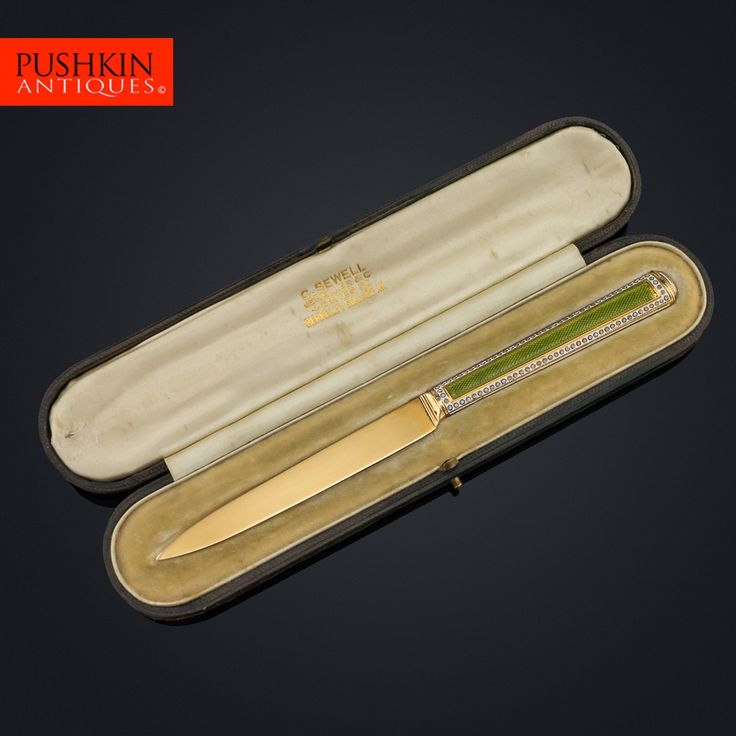 ANTIQUE 19thC FRENCH 18K GOLD & ENAMEL LETTER OPENER c.1820