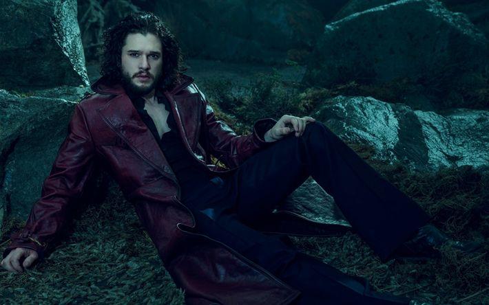 Lataa kuva Kit Harington, Englanti näyttelijä, valokuvaus, viininpunainen nahka takki