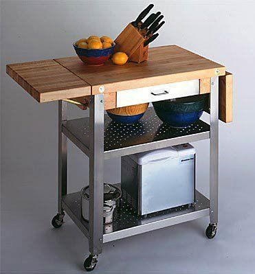 """Cucina Elegante Kitchen Cart (Maple/Stainless Steel) (37""""H x 30""""W x 20""""D) by John Boos. Save 30 Off!. $739.00. Butcher Block Kitchen Cart. Commercial Grade Locking Casters. Food Grade Stainless Steel Base. Size: 37""""H x 30""""W x 20""""D. Color: Maple/Stainless Steel. The Cucina Elegante Kitchen Cart is part of the American Heritage Collection, designed to bring professional quality kitchen furniture to every home! This stainless kitchen island features a food service grade stainles..."""