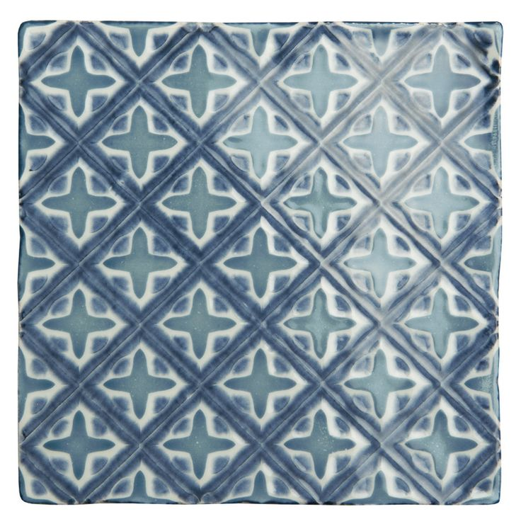 Behen on Papyrus. A lovely combination of blue and white. Handmade patterned ceramic tiles from the Chateaux collection by The Winchester Tile Company. winchestertiles.com