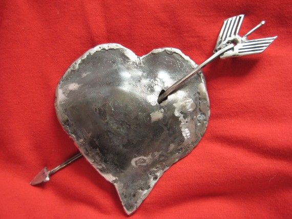 Cupids arrow: Valentines Welding, Metals Sculpture, Cupid Arrows, Heart Worx, Cupid Bows And Arrows, Heart Pin, Arrows Pin, Romantic Valentines, Silver Heart