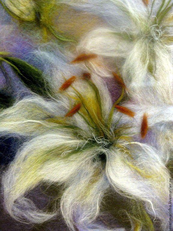 Купить Картина из шерсти Белые Лилии - белый, картины из шерсти, живопись шерстью, Живопись, цветы