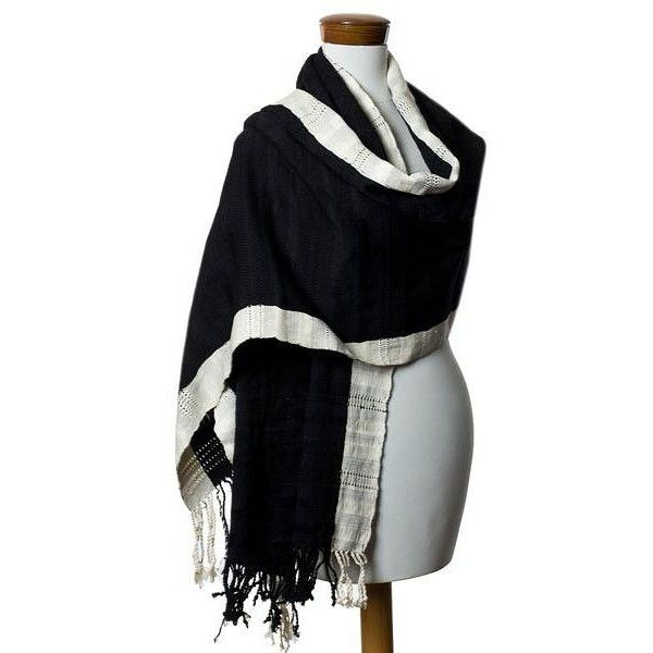 NOVICA Maya Black and Off White Cotton Shawl from Guatemala featuring polyvore, women's fashion, accessories, scarves, black and white, clothing & accessories, shawls, novica, black and white scarves, cotton shawl, shawl scarves and cotton scarves