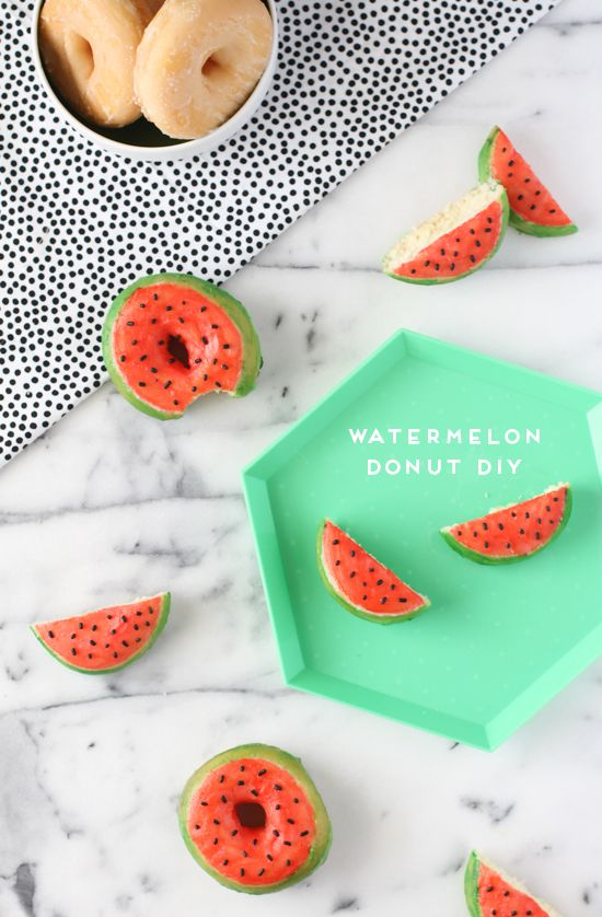 Make This: DIY Watermelon Donuts for National Donut Day - paint storebought glazed donuts with food color paint