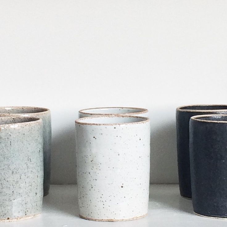 """Stoneware tumblers for inconspicuous whiskey drinking available in time for thanksgiving  Handmade in our stoneware white, matte black & celadon sage.…"""