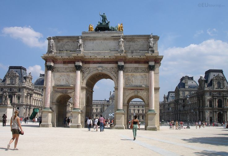 Originally made as a gateway to a since destroyed palace, the Arc de Triomphe du Carrousel now stands outside the Louvre.  See more Paris Photos at www.eutouring.com/images_arc_de_triomphe_du_carrousel.html
