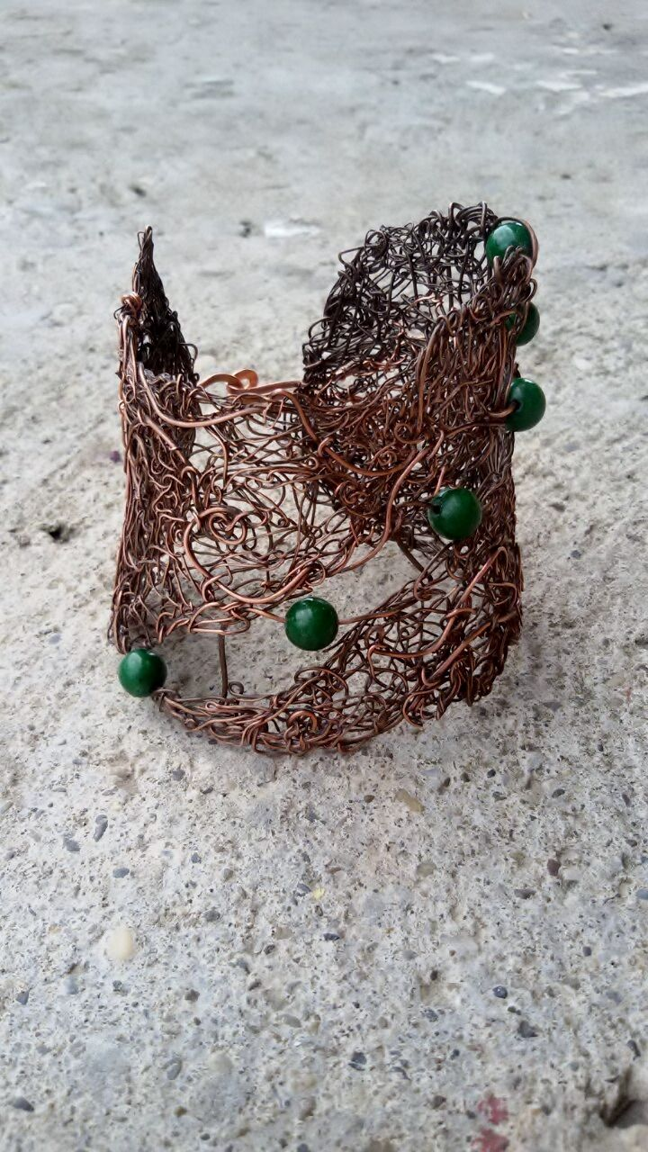 Copper wire bracelet,Fairy wire wrapped bracelet with green Jade,Woodland bracelet https://www.etsy.com/listing/236371316/copper-wire-braceletfairy-wire-wrapped?ref=shop_home_active_1