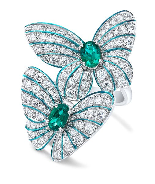 Cellini Jewelers Butterfly Emerald and Diamond Ring This gorgeous pave butterfly ring features 0.79 carats of oval cut emeralds and 1.71 carats of round brilliant diamonds. The delicacy and vibrancy of the butterfly is further enhanced with hand painted iridescent green enamel.